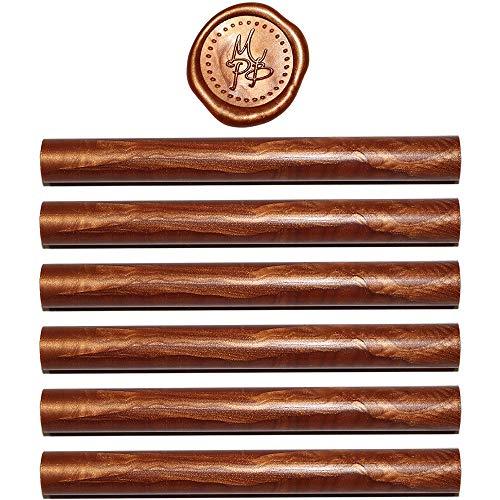 Copper Seal - Copper Sealing Wax Sticks - 6 Wax Seal Sticks Per Package - Glue Gun Format - 100% USA Ingredients (Copper)