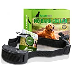 ONE DAY SALE No Bark Collar By Naturepets - No Harm Shock Dog Control - 7 Sensitivity Adjustable Levels for Medium Large or Small Dogs 15-120 Pound Dogs - 2 Gifts Include
