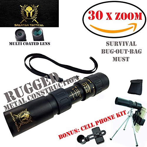 Spartan Tactical Monocular, // BONUS \\, Cell Phone Zoom Kit, Rugged Metal, POWERFUL 10X - 30X ZOOM!!, lens kit, Camping gear, spotting scope, MOST powerful pocket scope, camera Bag, Survival, Recon