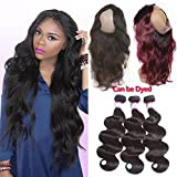 Cheap Pizazz Pre Plucked 360 Frontal With Bundles Peruvian Body Wave Human Hair With Closure 360 Free Part Lace Closure With Baby Hair (20 22 24+18nch 360)