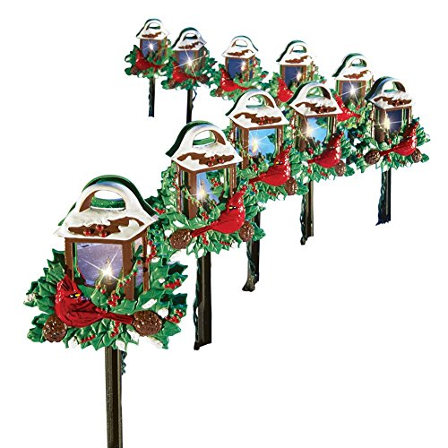 Christmas Cardinal Lantern Path Lights - Set of
