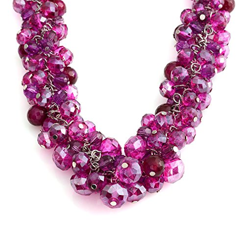 Shop LC Delivering Joy Bead Strand Necklace for Women Fuchsia Glass Beads Chroma Silvertone Jewelry Gift 18-20