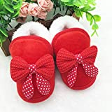 DHmart Winter Warm Newborn Baby Girls Shoes Bow Pink Red Fur Snow Princess Soft Crib Shoes Prewalker Boots 0-18M