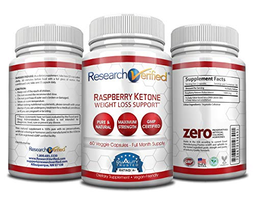 Research Verified Raspberry Ketones -100% Pure Natural Raspberry Ketones -1000mg/day for Fast and Easy Weight Loss - 365 Day 100% Money Back Guarantee - 180 Capsules (Three Month Supply) by Research Verified (Image #3)