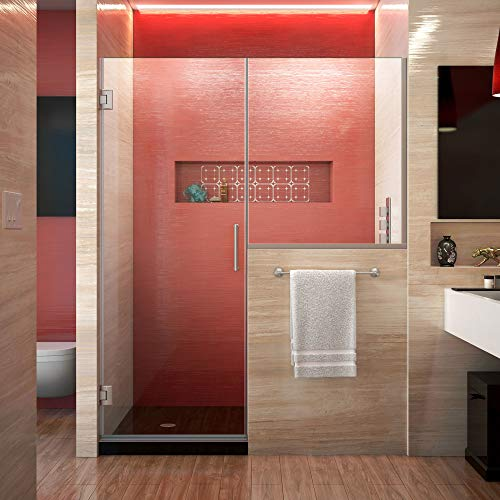 DreamLine Unidoor Plus 58-58 1 2 in. W x 72 in. H Hinged Shower Door with 34 in. Half Panel, Clear Glass, Brushed Nickel, SHDR-24283034-04