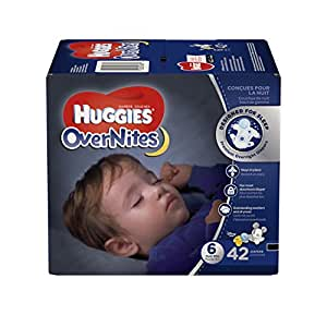 HUGGIES OverNites Diapers, Size 6 for over 35 lbs., Pack of 42 Overnight Baby Diapers