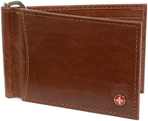 Alpine Swiss RFID Blocking Men's Leather Spring Loaded Money Clip Wallet