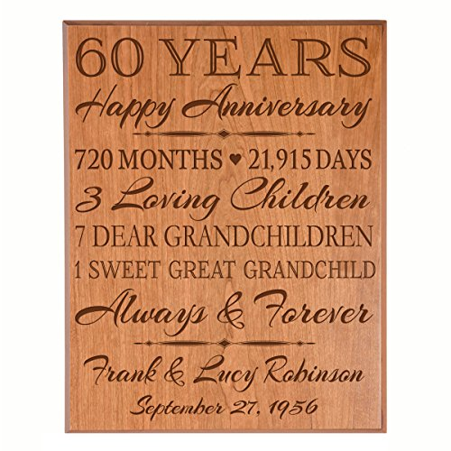 Personalized 60th Anniversary Gifts for him her Couple parents, Custom Made 60 year Anniversary Gifts ideas Wall Plaque 12
