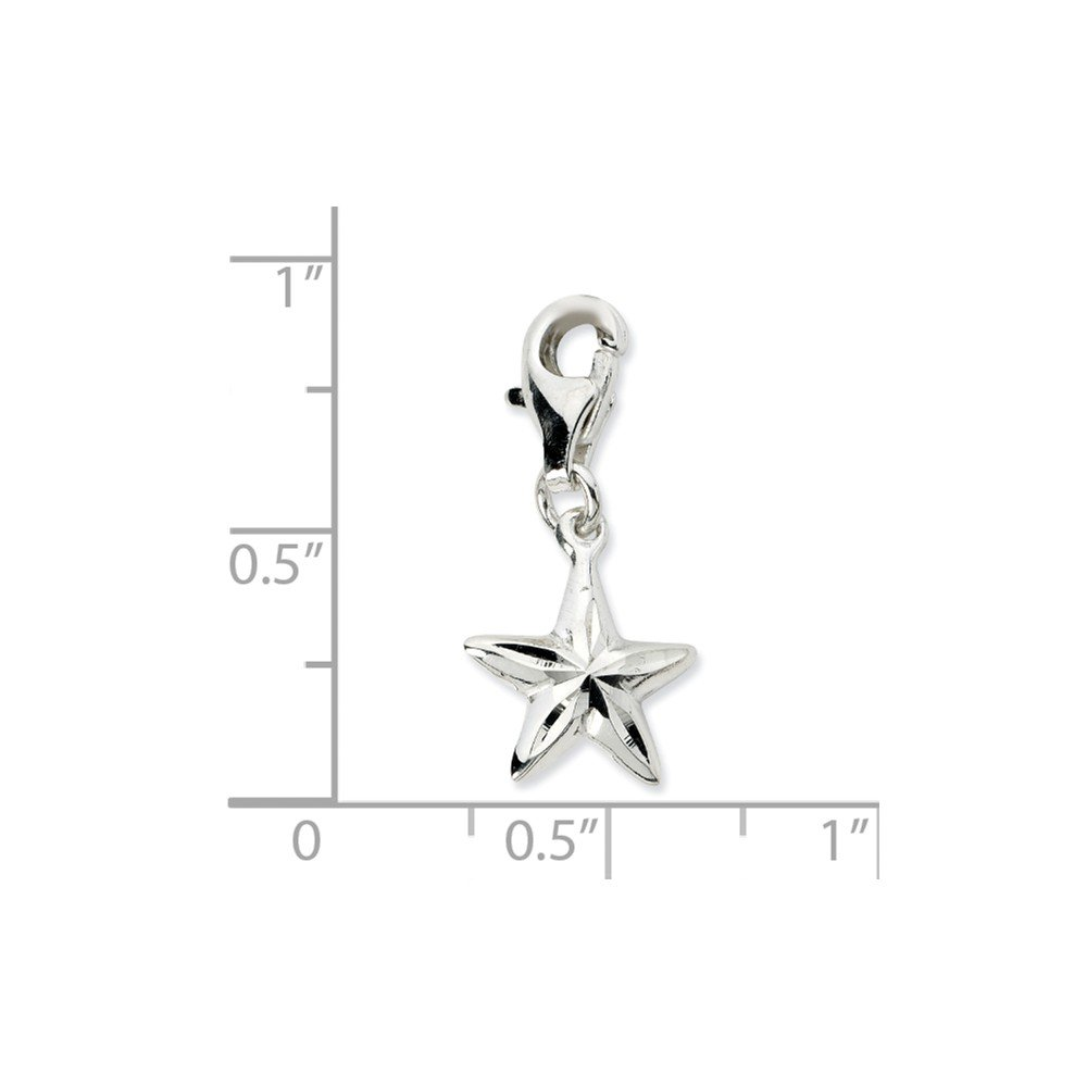 Beautiful Sterling silver 925 sterling Sterling Silver 2-D Diamond-cut Star w//Lobster Clasp Charm
