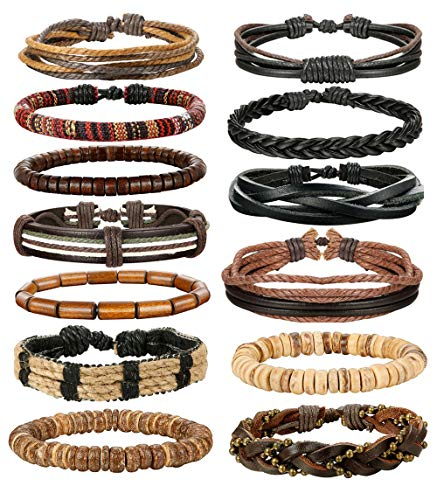 (LOLIAS 24 Pcs Woven Leather Bracelet for Men Women Cool Leather Wrist Cuff Bracelets Adjustable (Style D2:12 PCS))