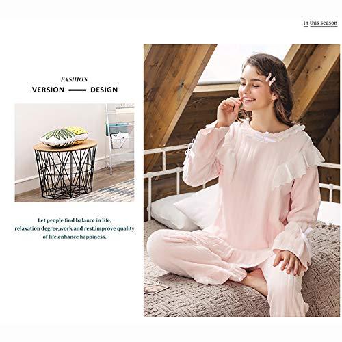B Espesar De Mujer Para Mantener Camisón Traje Pijamas Dormir Invierno Franela Conjunto Px178ndqx