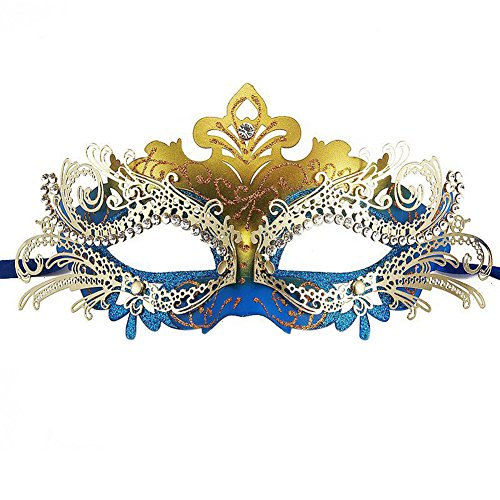 [Tuliptown Masquerade Mask Shiny Metal Rhinestone Venetian Women's Laser Pretty Elegant Lady (Blue and] (One Night Stand Costume For Girls)