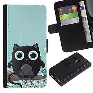 eJoy---La carpeta del tirón la caja de cuero de alta calidad de la PU Caso protector - Samsung Galaxy S3 MINI 8190 - --Cute Cat Creature