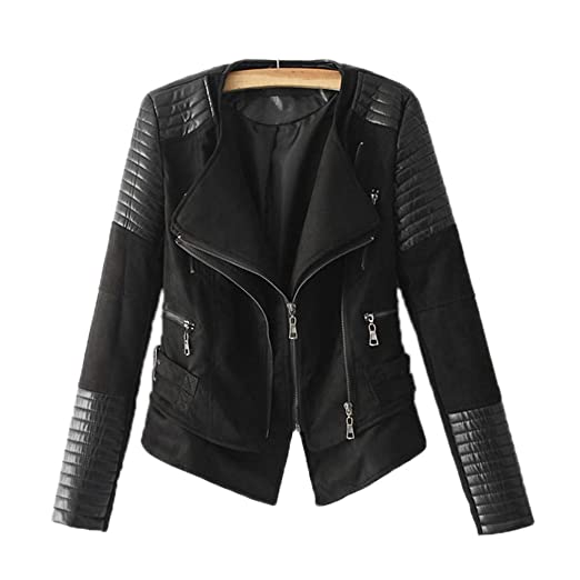 HYDSFG Spliced Faux Leather Suede Jacket Women Moto Coat ...