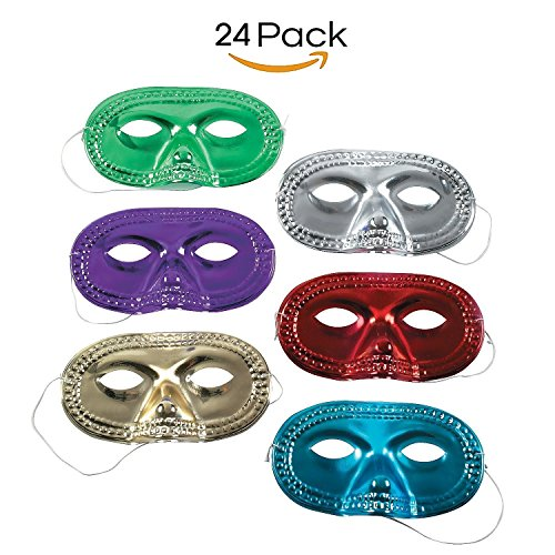 Metallic Half Mask - Pack Of 24 – Assorted Cool Colors - For Kids Ages 5 - 14, Masquerade, Mardi Gras, Parties, Prom, Halloween, Dress Up, Costume - By (Mardi Gras Mask For Kids)