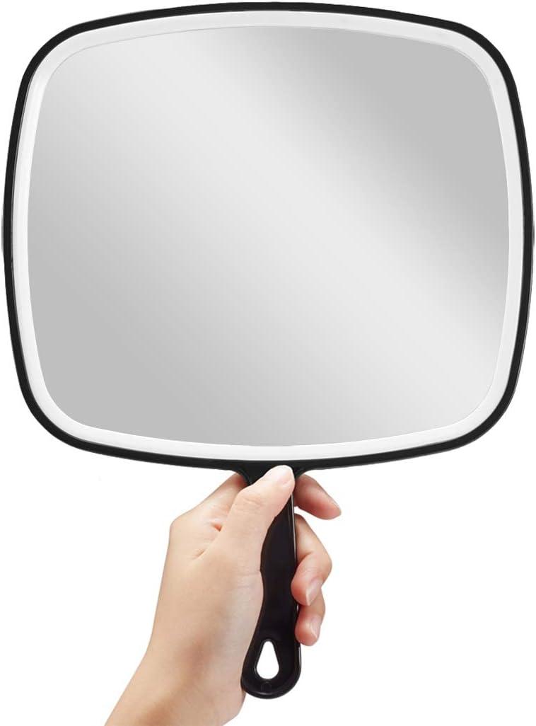 OMIRO Espejo de mano, extragrande, negro, con mango, cuadrado, negro, XL: Amazon.es: Belleza