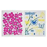 Wet-It Swedish Dishcloth Set of 2 - 2 Different Spring Flower Designs - NEW