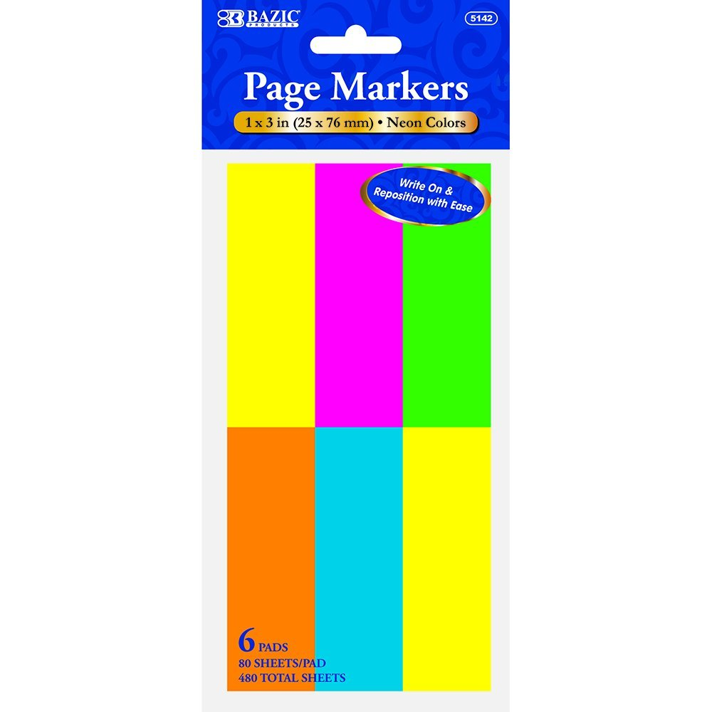 BAZIC 80 Ct. 1'' X 3'' Neon Page Markers (6/Pack) (Case of 144 packs) by BAZIC