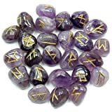 Amethyst Tumbled Rune Set (India) (3/4'' - 5/8'') - 25pc. Bag