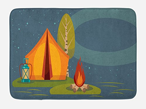 Lunarable Camping Bath Mat, Summer Outdoor Activity in the Forest Tent Campfire and Lantern under Night Sky, Plush Bathroom Decor Mat with Non Slip Backing, 29.5 W X 17.5 W Inches, Multicolor