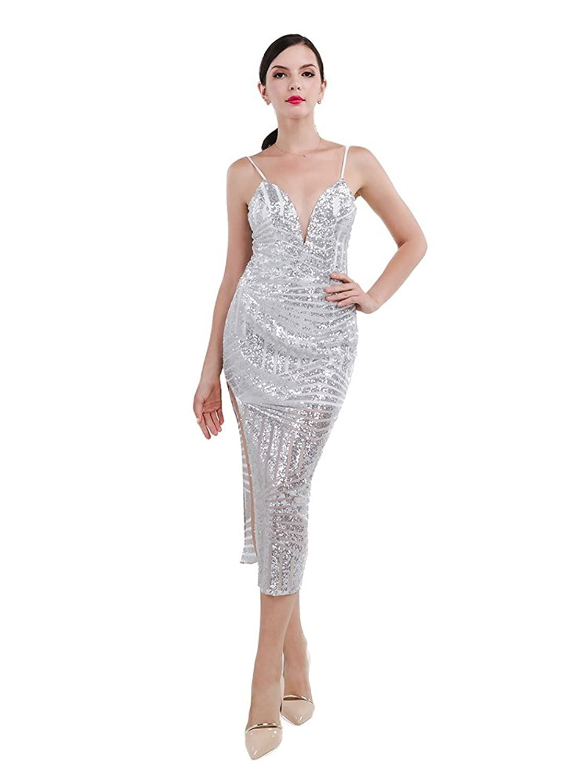 Missord Women's Polyester Halter Sequin Split Dress