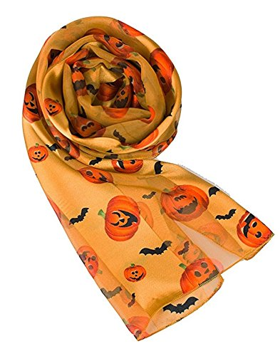 Knitting Factory Pumpkin Pattern Scarf for Halloween Pumpkin Bat Scarf Loop Infinity Scarf (GOLD)]()