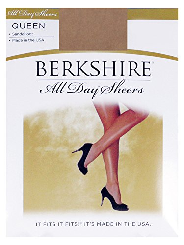 Berkshire Women's Plus-Size Queen All Day Sheer Non-Control Top Pantyhose - Sandalfoot 4416 , City Beige, 3X-4X