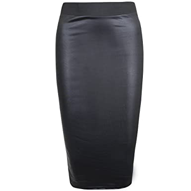 5895a08a22 Womens Faux Leather Ladies Elastic Waistband Bodycon Stretch Wet Look Pencil  Fitted Tube Black Midi Skirt Size 8 - 10: Amazon.co.uk: Clothing