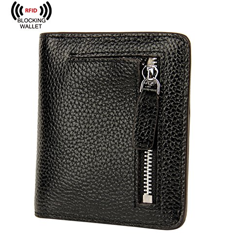 BIG SALE-AINIMOER Womens RFID Blocking Leather Small Compact Bifold Pocket Wallet Ladies Mini Purse with id Window
