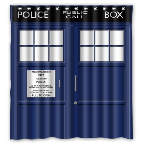 Wanda Amanda Winterby Custom Police Box Public Call Waterproof Fabric Bathroom Shower Curtain 66 x 72
