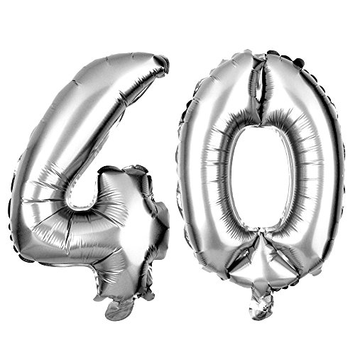 40 Large Number Balloons for 40th Birthday or Anniversary Party Decorations (40 Inch, Silver) (40th Anniversary Balloons)