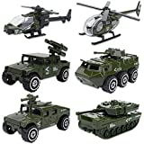 Shellvcase Die-cast Army Vehicles, Metal Army Toys 6 in 1 Assorted Alloy Car Models Tank,Jeep,Anti-Air Vehicle,Helicopter Armored Car Toys Set for 4-8 Year Old Kids Boys