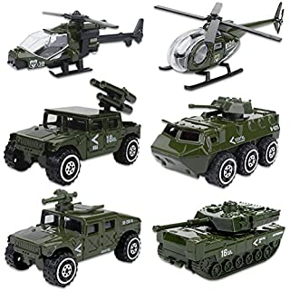 Shellvcase Die-cast Military Vehicles, Metal Army Vehicles Toys 6 in 1 Assorted Army Car Models Tank,Jeep,Anti-Air Vehicle,Helicopter Armored Car Gift Set for Kids Toddlers Boys (Army Vehicle)