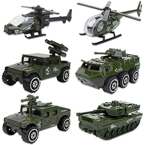 Shellvcase Die-cast Military Vehicles, Metal Army Vehicles Toys 6 in 1 Assorted Amy Car Models Tank,Jeep,Anti-Air Vehicle,Helicopter Armored Car Gift Set for Kids Toddlers Boys (Army Vehicle)