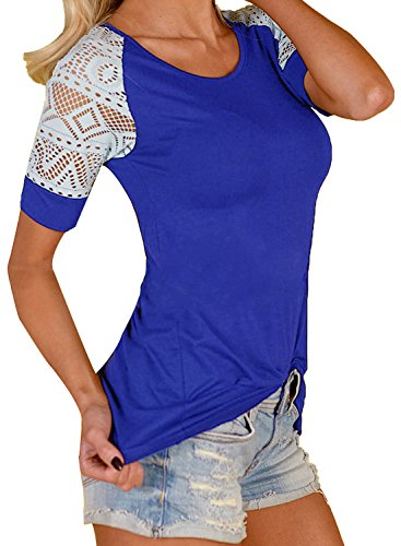VOGRYE Women's Lace Short Sleeve T-Shirt Tee Blouse Casual