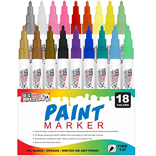 U.S. Art Supply 18 Color Set of Fine Point Tip Oil Based Paint Pen Markers - Permanent Ink that Works on Most Surfaces Glass, Wood, Metal, Rubber, Rocks, Stone, Arts, Crafts & Tools