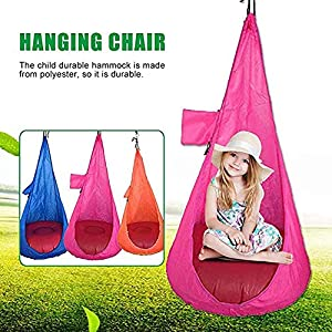 Holshop Home Child Hammock Chair Kids Swing Pod Outdoor Indoor Hanging Seat Hammocks (23.6 x 45.2inch, Pink: 1 x Child…