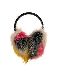 ZLYC Women Dye Neon Color Faux Fur Earmuffs with PU Adjustable Headband Earwarmer, Pink