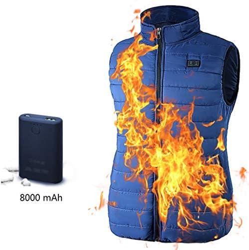 電気加熱釣りベスト、3速温度制御デュアルコントロールスイッチ、疾患を防止する8000mAhの電池、アウトドアスポーツ (色 : Blue, サイズ : L)