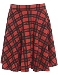 Womens Plus Size New Tartan Check Block Stretch Band Flared Skater Skirts 14-28