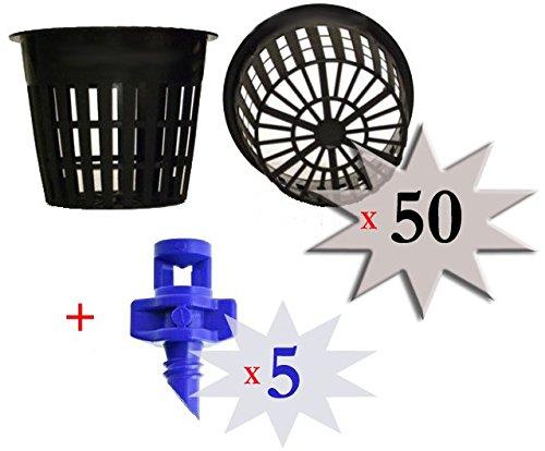 50 pack - 3 inch Round Net Cups Pots Wide Lip Design