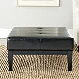 Safavieh Hudson Collection Bleecker Black Leather Cocktail Ottoman For Sale