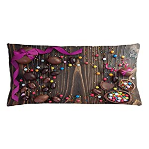Easter Throw Pillow Cushion Cover by Lunarable, Wooden Board with Chocolate Eggs and Candies Rustic Festive Arrangement Picture, Decorative Square Accent Pillow Case, 36 X 16 Inches, Multicolor