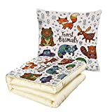 iPrint Quilt Dual-Use Pillow Cabin Decor Set of Cute Woodland Animals Tribal Nature Elements Kids Room Nursery Wall Art Multifunctional Air-Conditioning Quilt Multicolor