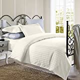 1800 Series Damask Stripe Duvet Cover 3PC Set With Pillow Shams/Beige/Twin
