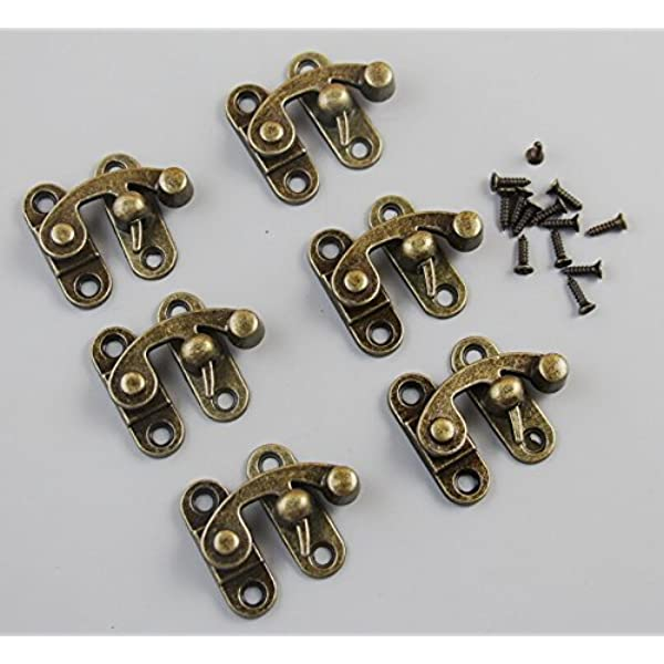 5 Sets Antique Hook Hasp Vintage Bronze Swing Lock Clasp Right Latch Closure with Screws for Suitcase Case Jewelry Wooden Boxes
