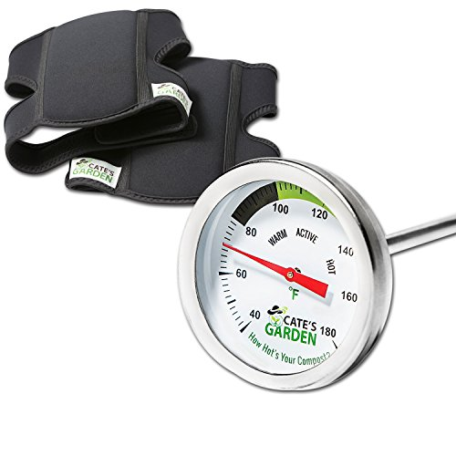Compost Thermometer Premium Stainless Steel Bimetal Thermometer for Backyard Composting & Cate's Garden Ultra Comfort Knee Pads for the Home Gardener – Neoprene, Soft, Water-resistant Construction by Cate's Garden