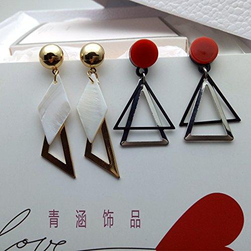 Ja and South Korea trend of sweet temperament new geometry double triangular shaped leaves tassel earrings white shell earrings