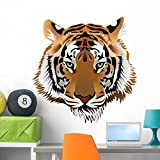 great tiger wall decals Wallmonkeys Tiger Head Wall Decal Peel and Stick Graphic (36 in H x 35 in W) WM111903