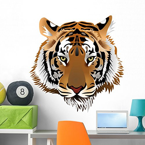 Wallmonkeys Tiger Head Wall Decal Peel and Stick Graphic (36 in H x 35 in W) WM111903